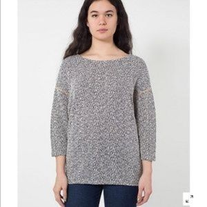 American Apparel One Size Sweater in Cream/Navy
